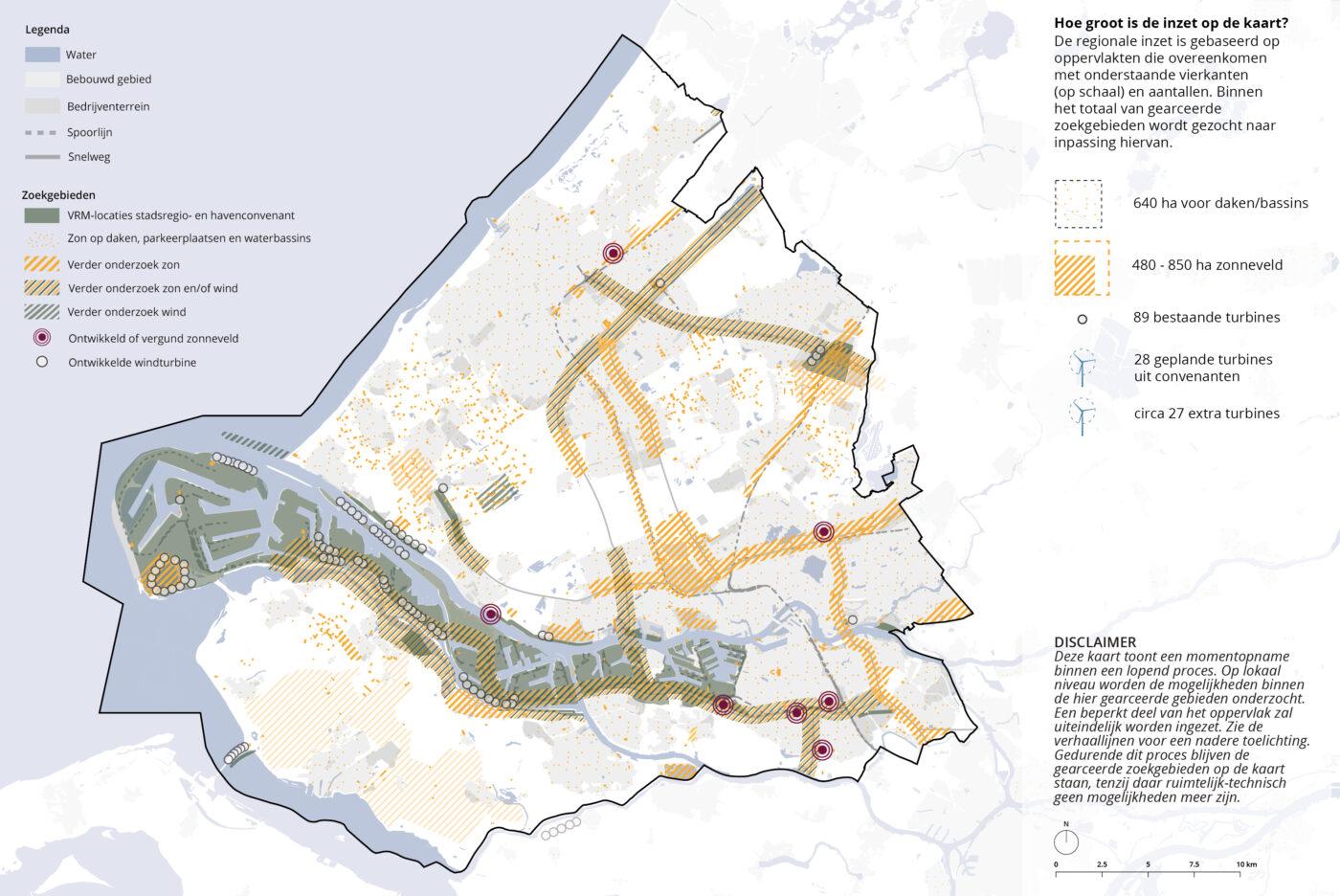 Figuur 4.3 Zoekgebieden voor 2030 in de RES-regio Rotterdam den Haag - uitkomst van de verhaallijnen